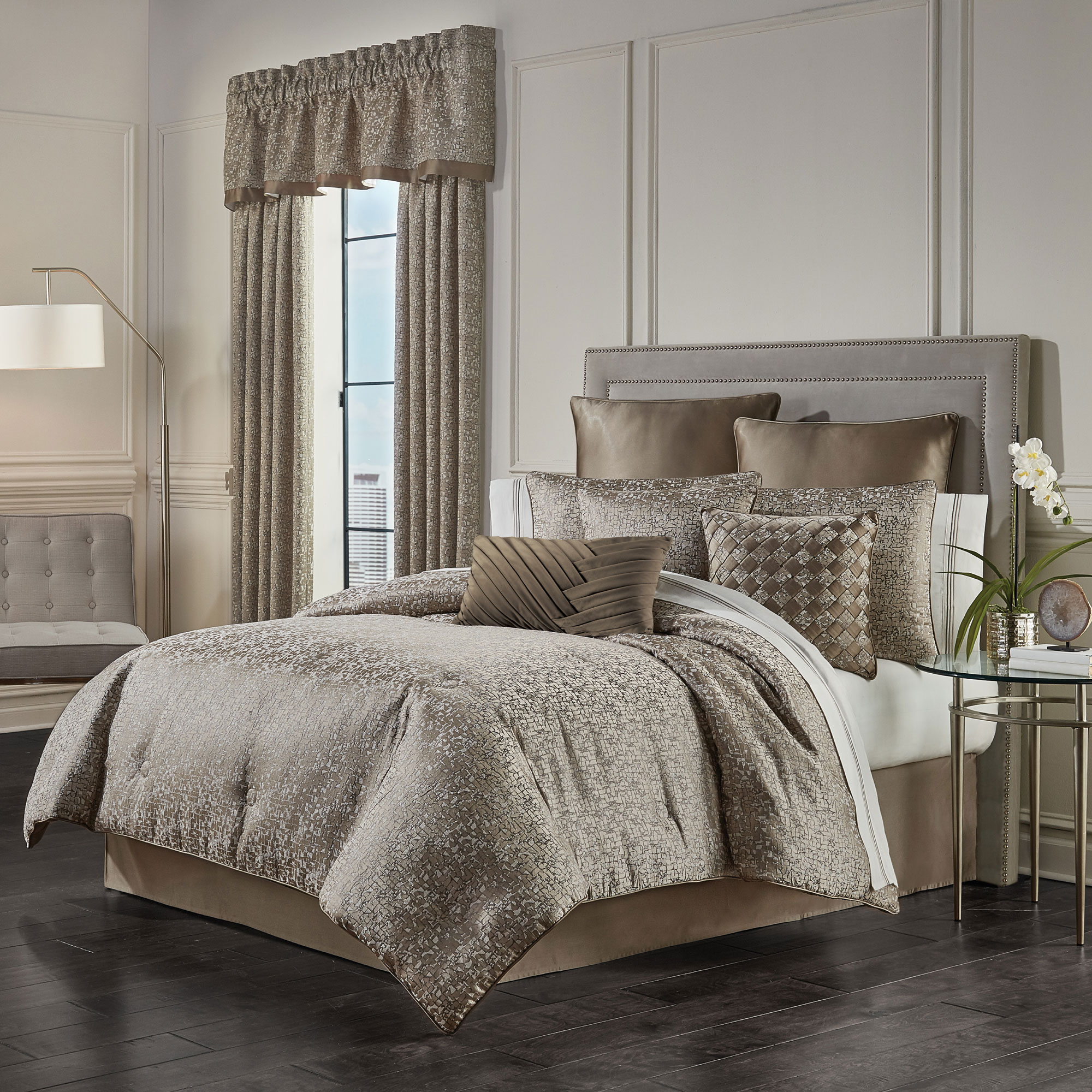 Cracked Ice Taupe Cal King 4 Piece Comforter Set