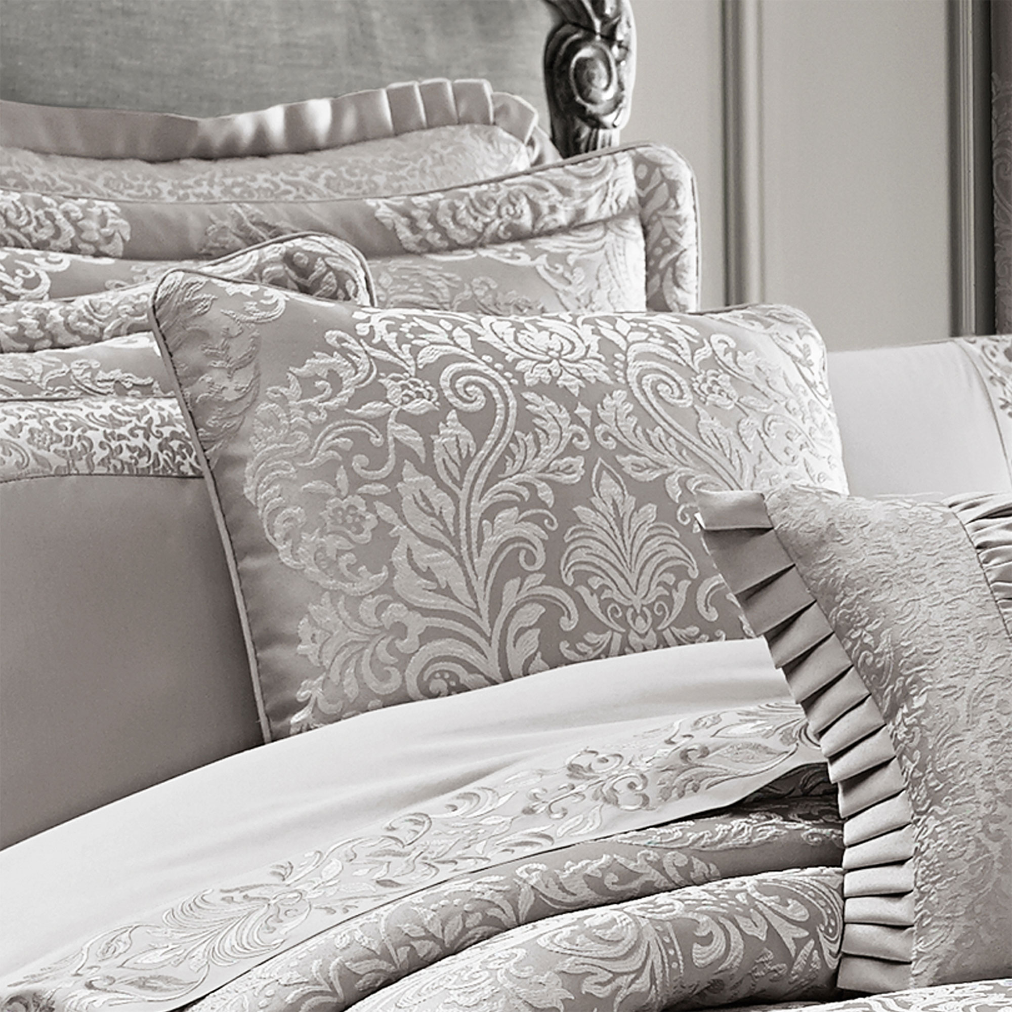 and tufted size with simple long white fabric set comforter bedroom large area rug curtain velvet headboard queen fluffy silver grey