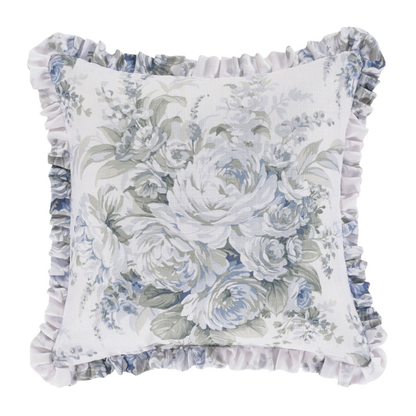 "Estelle Blue 16"" Square Decorative Throw Pillow"