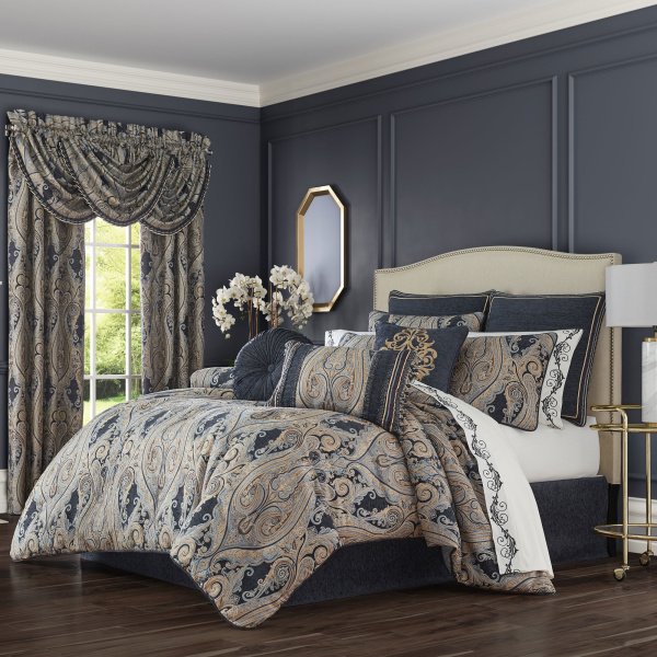 Luciana Indigo Queen 4 Piece Comforter Set