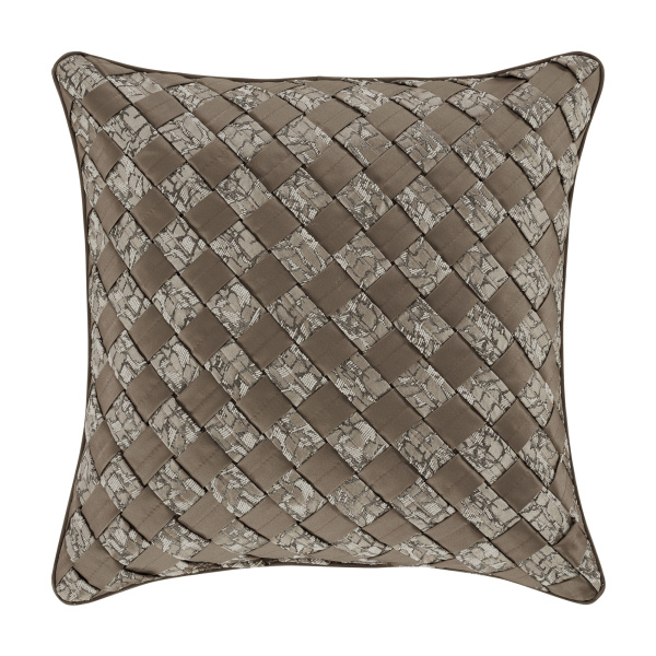 "Cracked Ice Taupe 18"" Square Decorative Throw Pillow"
