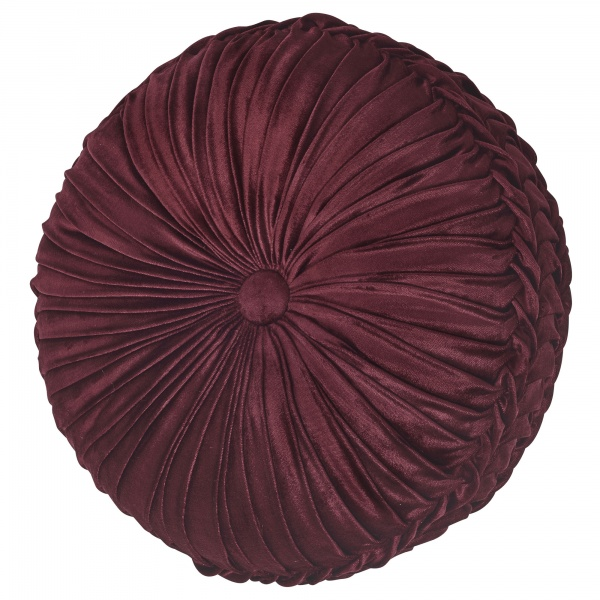 Crimson Tufted Round Decorative Pillow