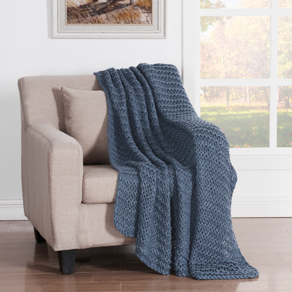 Luca Throw Blanket Blue