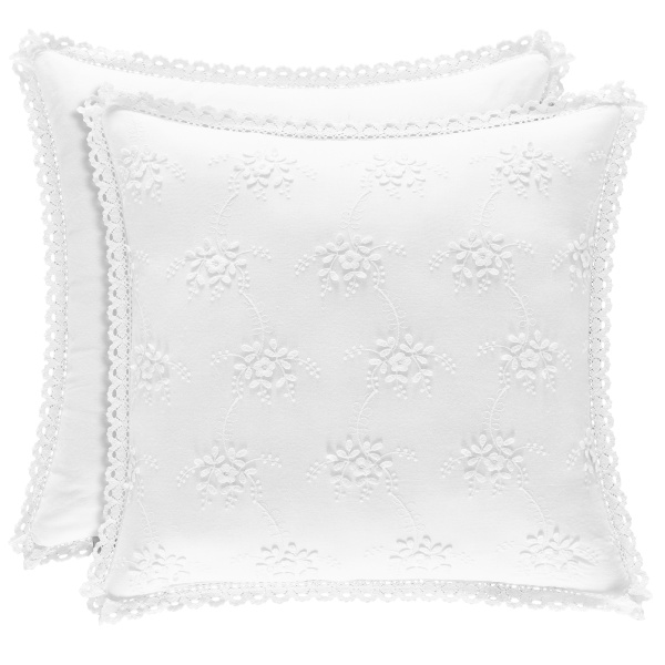 "Rosalie White 17"" Square Pillow"