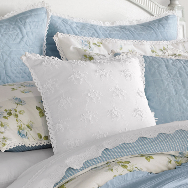 Rosalie Blue White Square Pillow