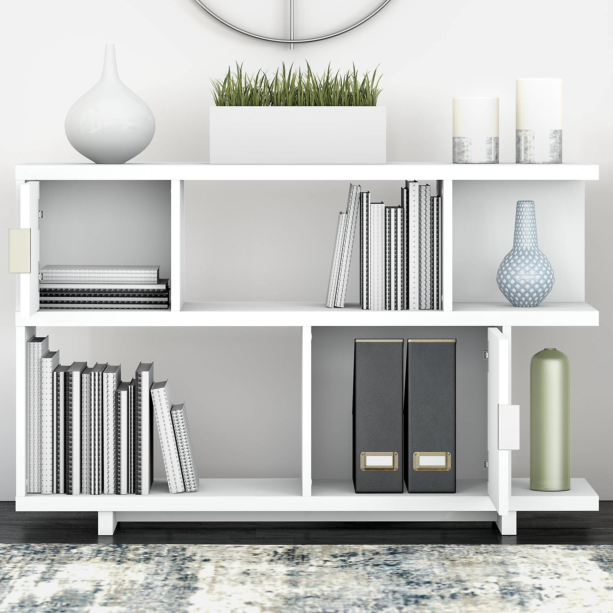 Avenue Low Geometric Bookcase with Doors in Pure White