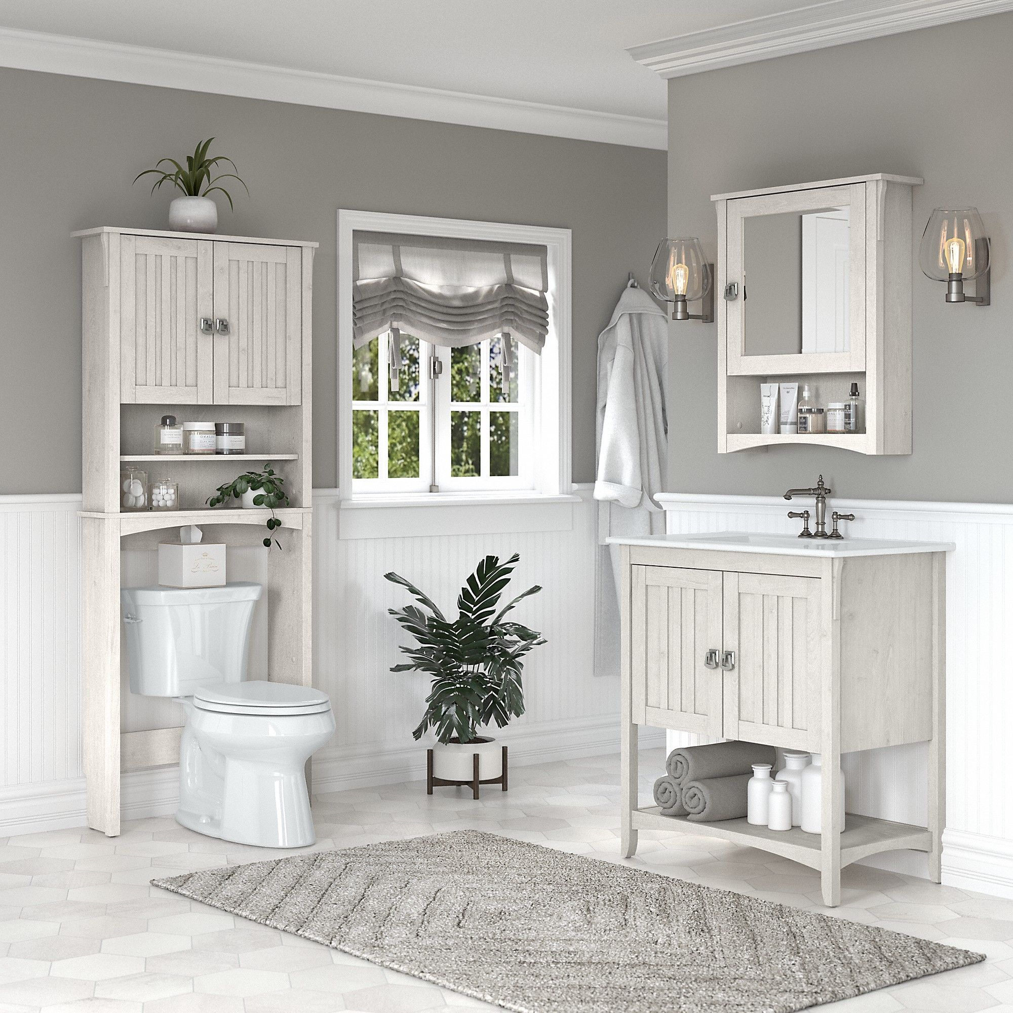Bush Furniture Salinas 32w Bathroom Vanity Sink With Mirror And Over The Toilet Storage Cabinet In Linen White Oak