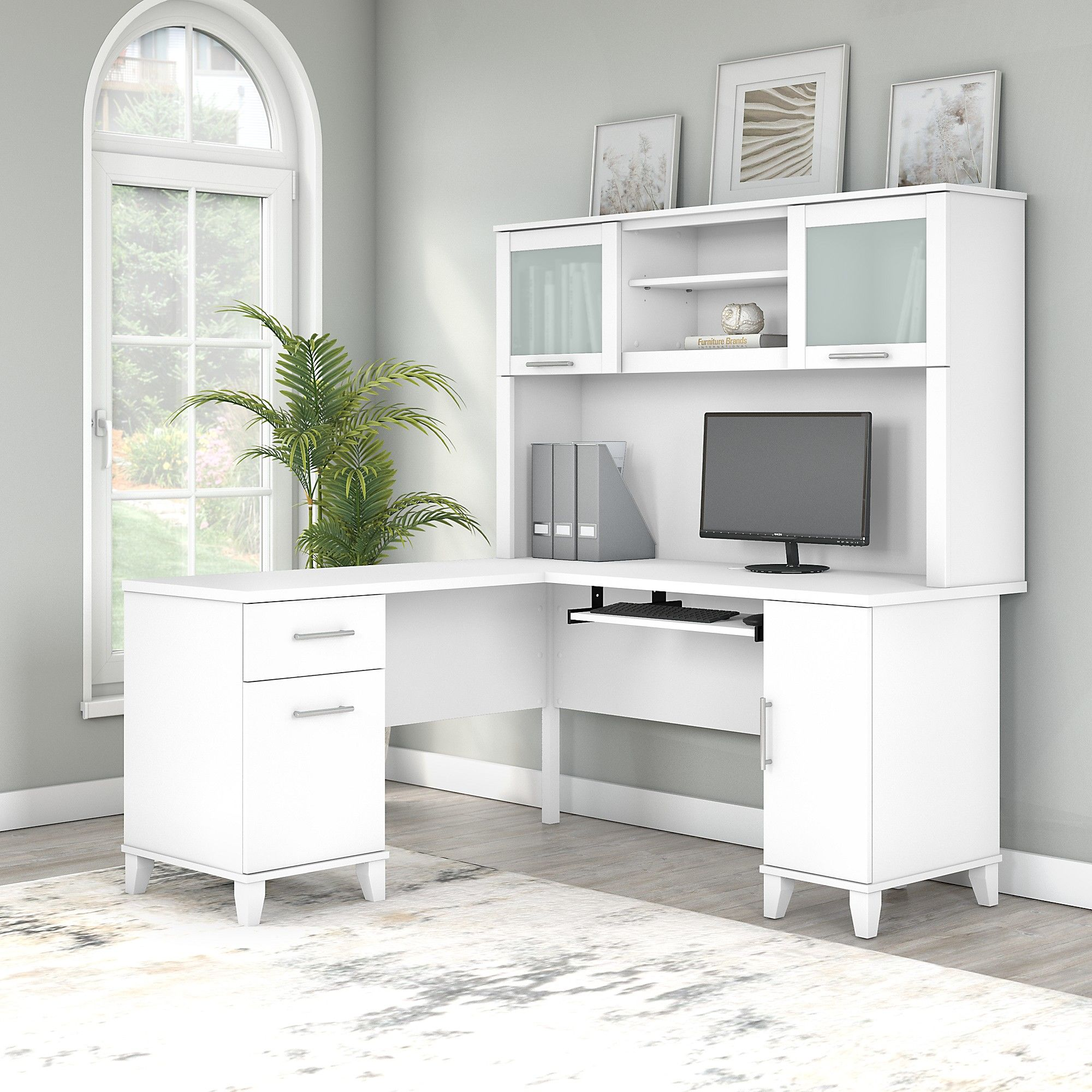 60w L Shaped Desk With Hutch In White