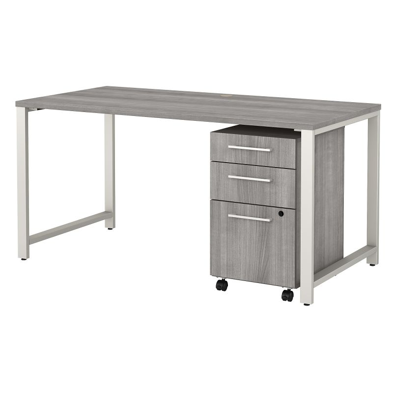 400S150PG 60W x 30D Table Desk with 3 Drawer Mobile File Cabinet in Platinum Gray
