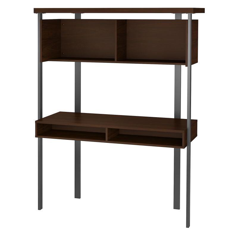 ACU152MW-03 Small Computer Desk with Hutch in Modern Walnut