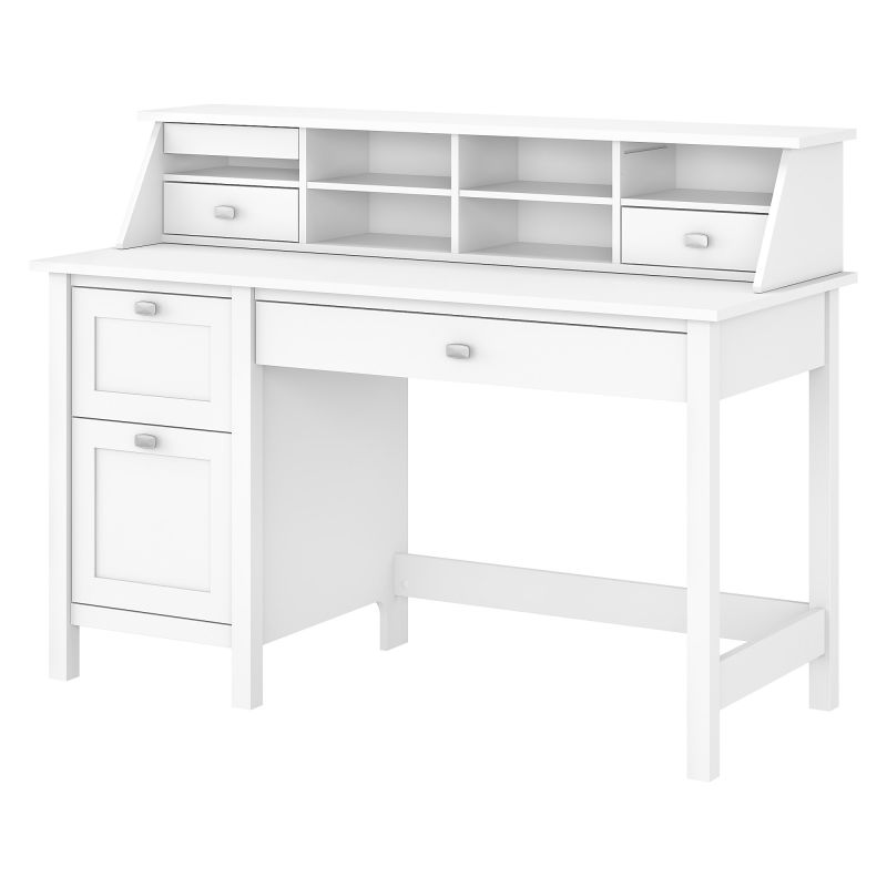 BD005WH Desk with 2 Drawer Pedestal and Organizer in Pure White