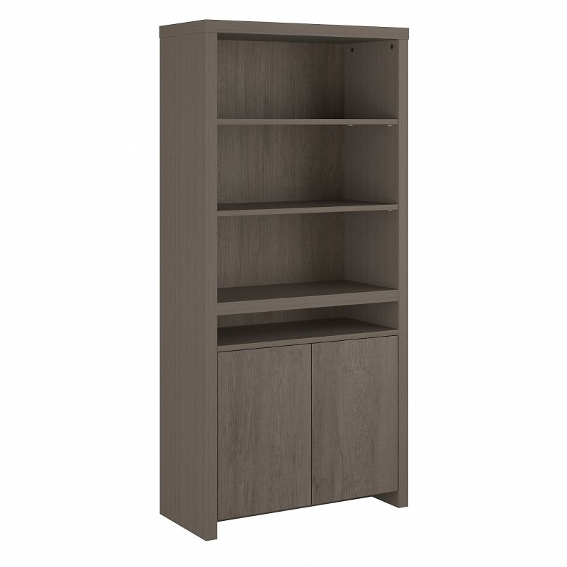 BRB135RT-03 Bristol Tall 6 Shelf Bookcase with Doors in Restored Gray