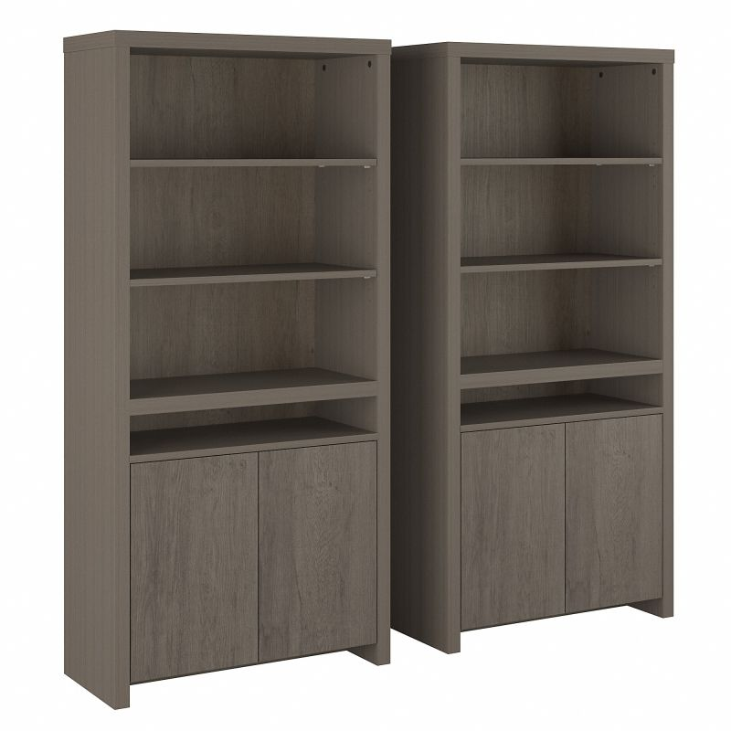 BRT005RT Bristol Tall 6 Shelf Bookcase with Doors - Set of 2 in Restored Gray