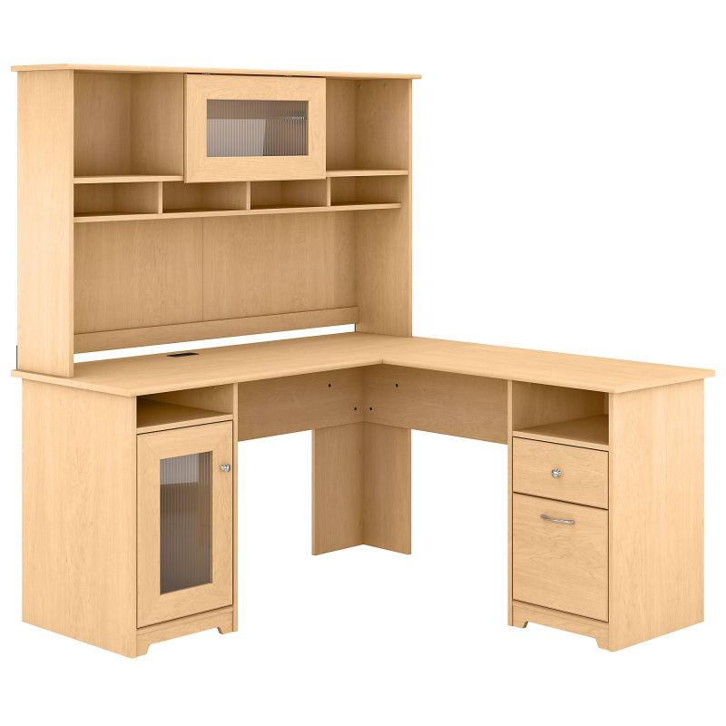 CAB001AC 60W L Shaped Computer Desk with Hutch in Natural Maple