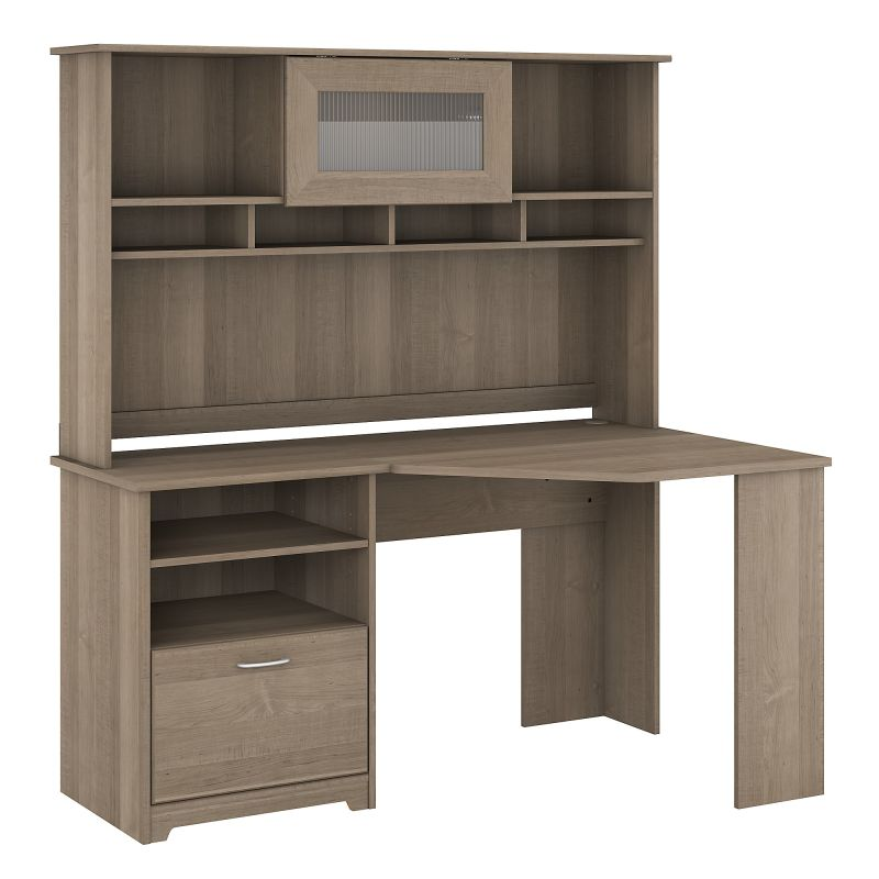 CAB008AG 60W Corner Desk with Hutch in Ash Gray