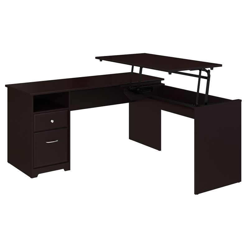 60W Single Pedestal Desk with Sit to Stand Return