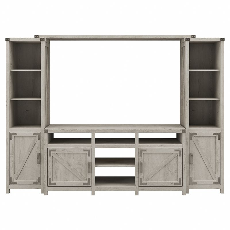 CGR009CWH Cottage Grove 65W Farmhouse TV Stand with Shelves Entertainment Center in Cottage White