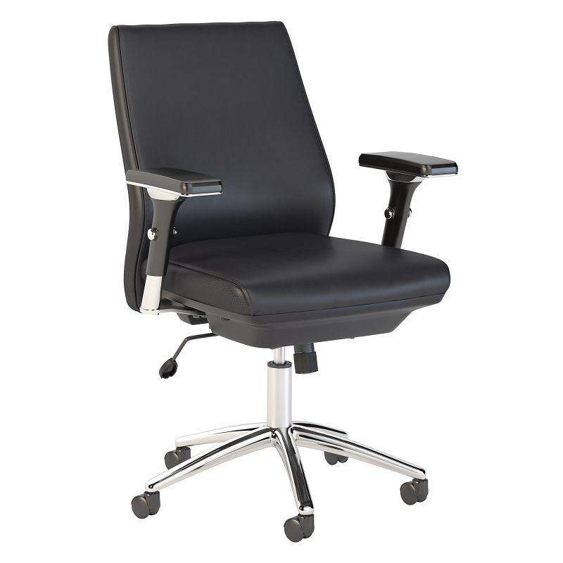 CH1602BLL-03 Mid Back Leather Executive Office Chair in Black
