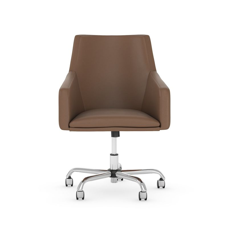 CH2401SDL-03 Mid Back Leather Box Chair in Saddle Tan