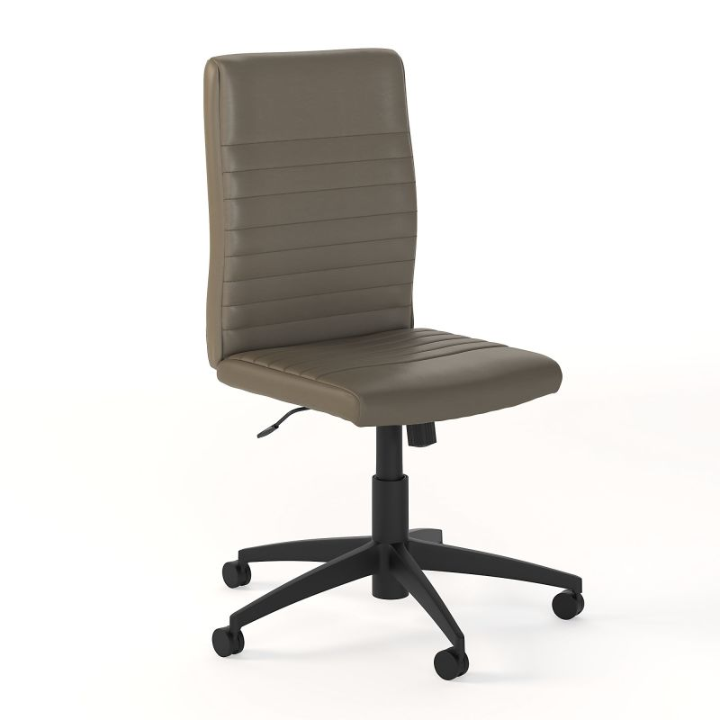 CH2601WGL-03 Mid Back Ribbed Leather Office Chair in Washed Gray