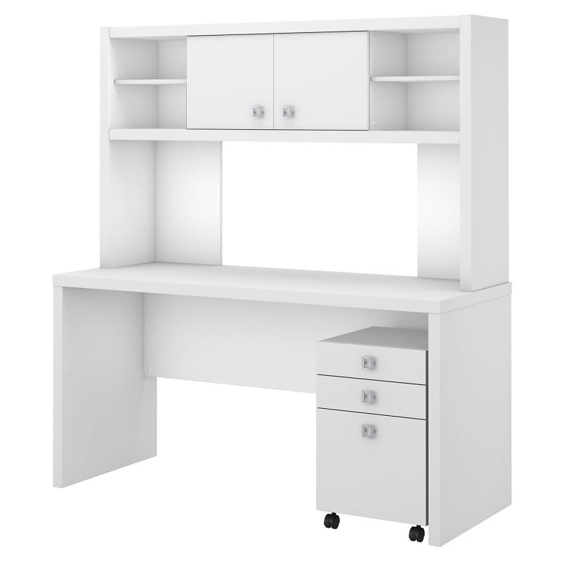 ECH006PW Desk with Hutch and Mobile File Cabinet in Pure White