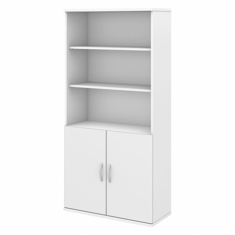 FTR009WH 36W 5 Shelf Bookcase with Doors