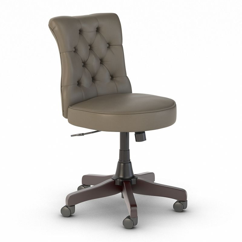 IW025WG kathy ireland® Home by Bush Furniture Ironworks Mid Back Tufted Office Chair in Washed Gray Leather