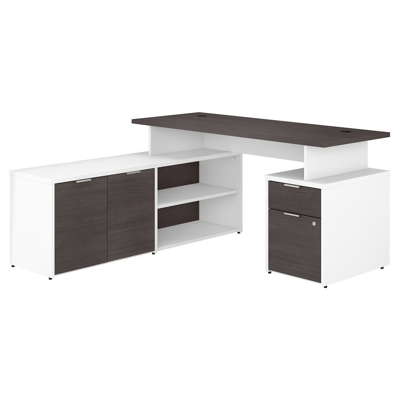 JTN021SGWHSU 60W L Shaped Desk with Drawers in White and Storm Gray