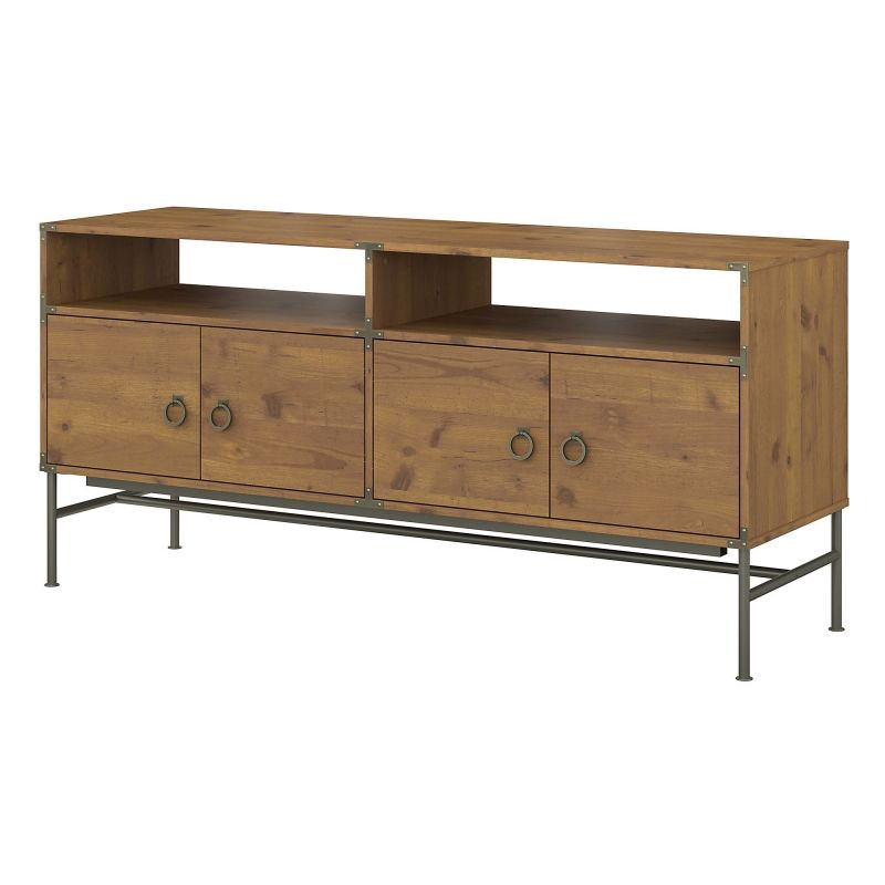 KI50106-03 60W TV Stand for 70 Inch TV in Vintage Golden Pine