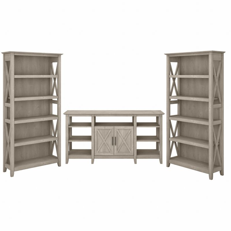 KWS027WG TV Stand with Bookcases