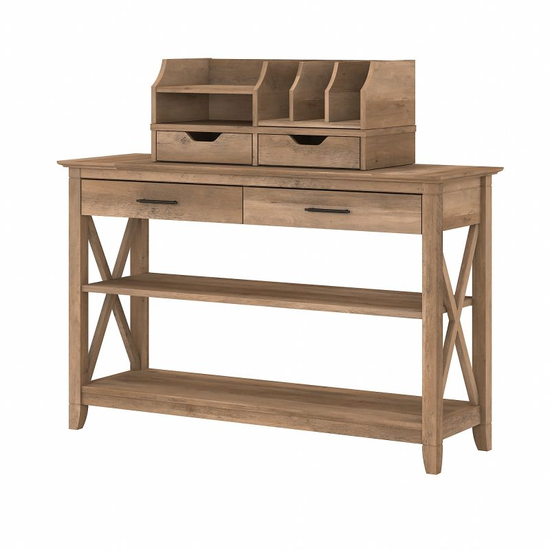 KWS028RCP Bush Furniture Key West Console Table with Storage and Desktop Organizers in Reclaimed Pine