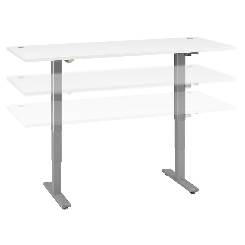 M4S7230WHSK 72W x 30D Electric Height Adjustable Standing Desk in White