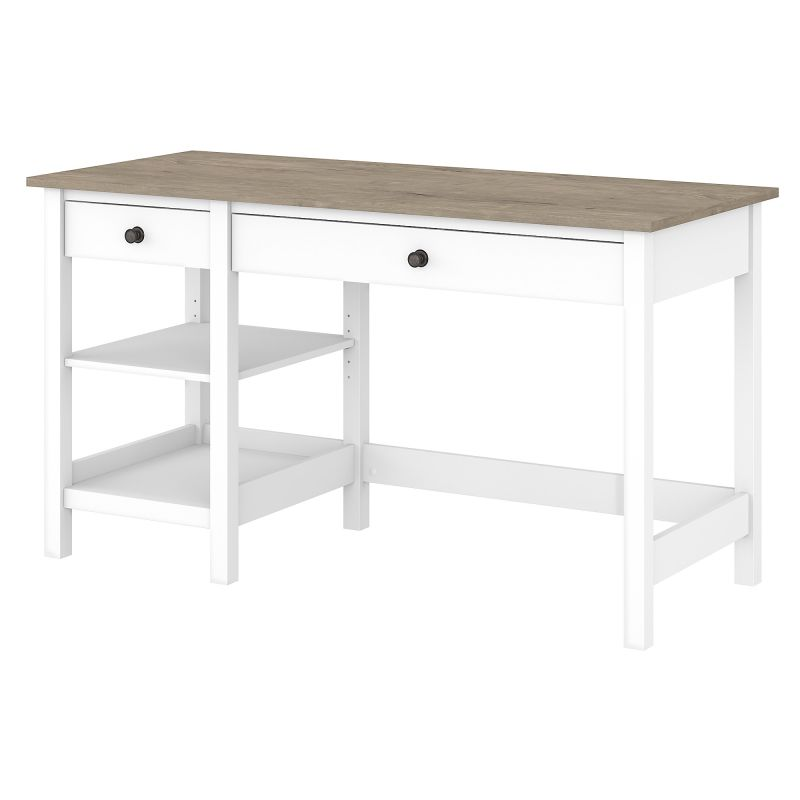 MAD154GW2-03 54W Computer Desk with Shelves in Pure White and Shiplap Gray
