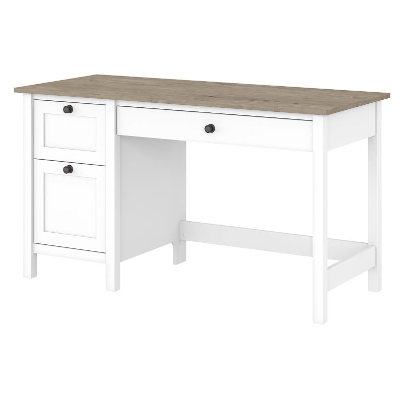 MAD254GW2-03 54W Computer Desk with Drawers in Pure White and Shiplap Gray