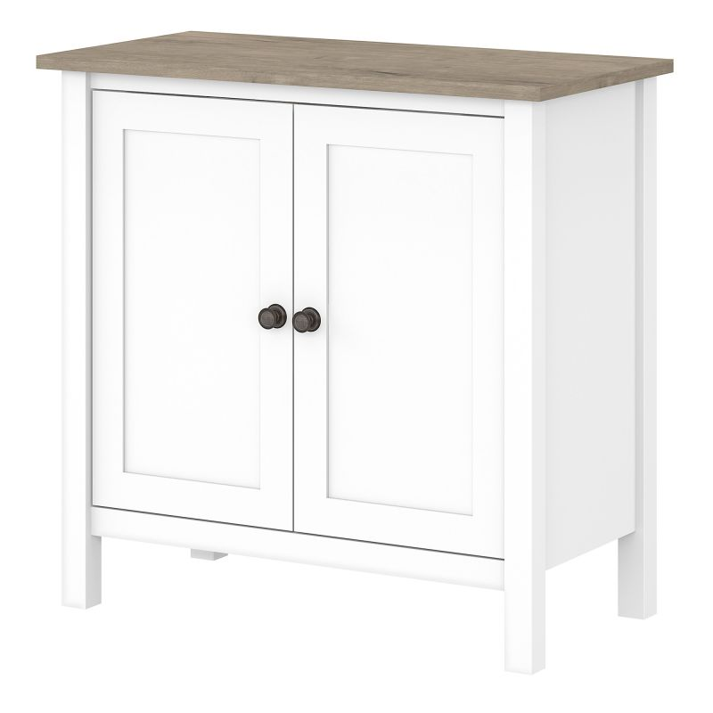 MAS131GW2-03 Accent Storage Cabinet with Doors in Pure White and Shiplap Gray
