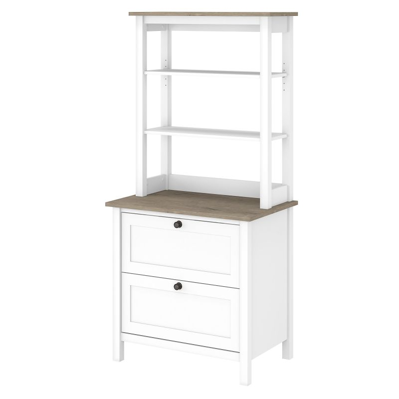 MAY018GW2 Bookcase with Drawers in Pure White and Shiplap Gray
