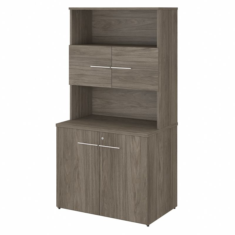 OF5008MHSU Office 500 36W Tall Storage Cabinet with Doors and Shelves in Modern Hickory