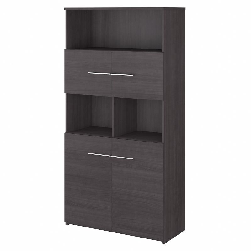 OFB136SG Office 500 5 Shelf Bookcase with Doors in Storm Gray