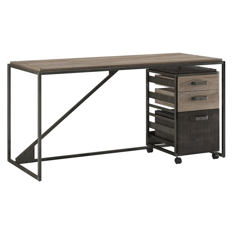 RFY005RG 62W Industrial Desk with 3 Drawer Mobile File Cabinet in Rustic Gray