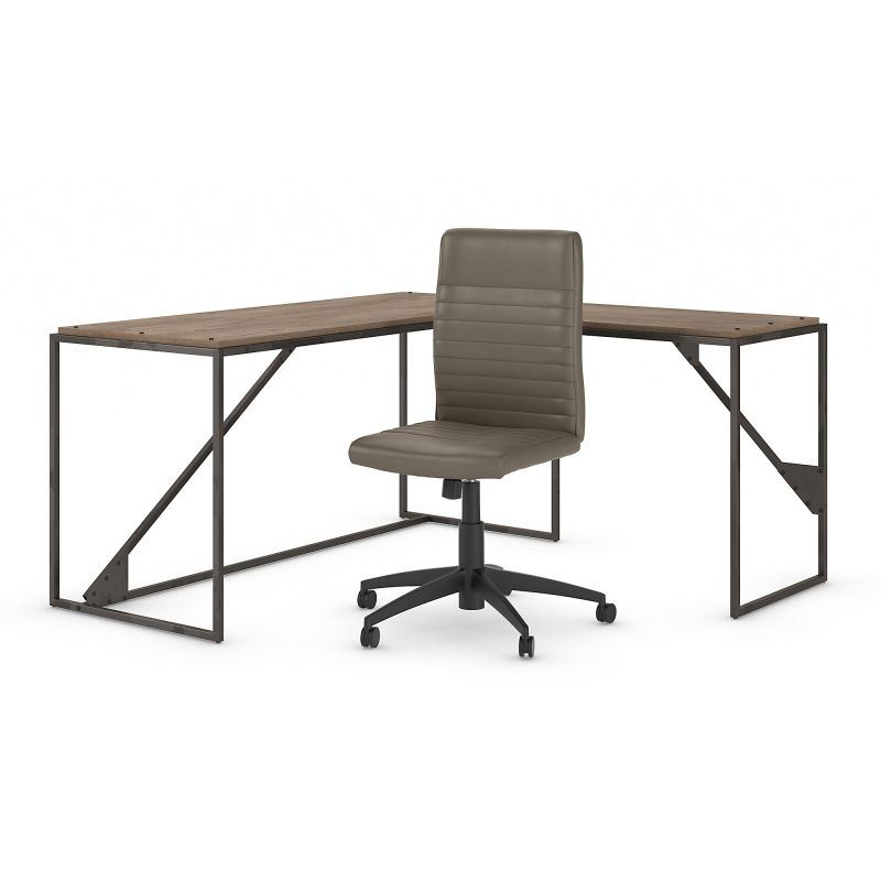 RFY011RG 62W L Shaped Desk with Mid Back Ribbed Leather Office Chair in Rustic Gray