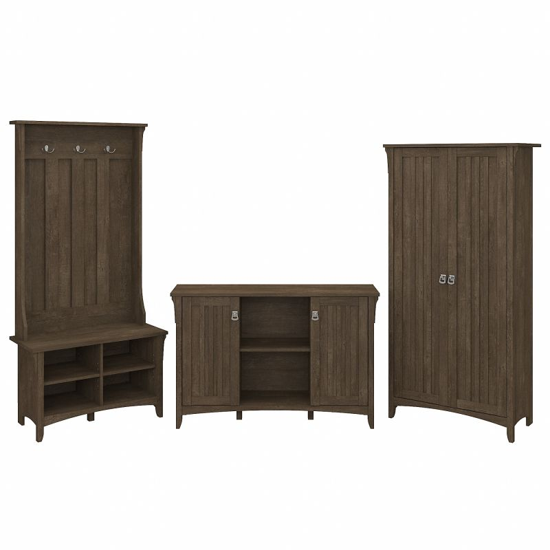 SAL016ABR Bush Furniture Salinas Entryway Storage Set with Hall Tree, Shoe Bench and Accent Cabinets in Ash Brown