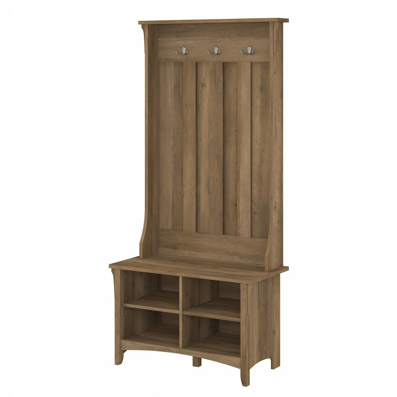 SAS532RCP-03 Bush Furniture Salinas Hall Tree with Shoe Storage Bench in Reclaimed Pine