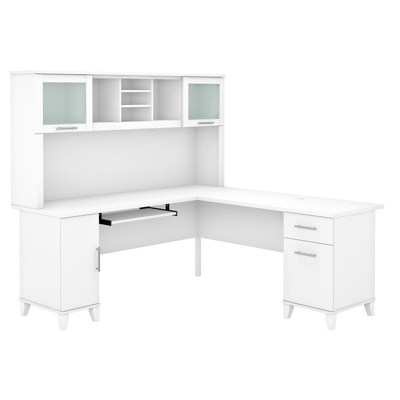 SET001WH 72W L Shaped Desk with Hutch in White