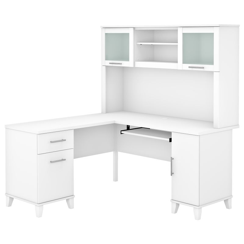 SET002WH 60W L Shaped Desk with Hutch in White