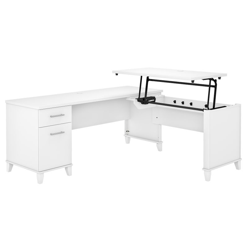 72W 3 Position Sit to Stand L Shaped Desk in White