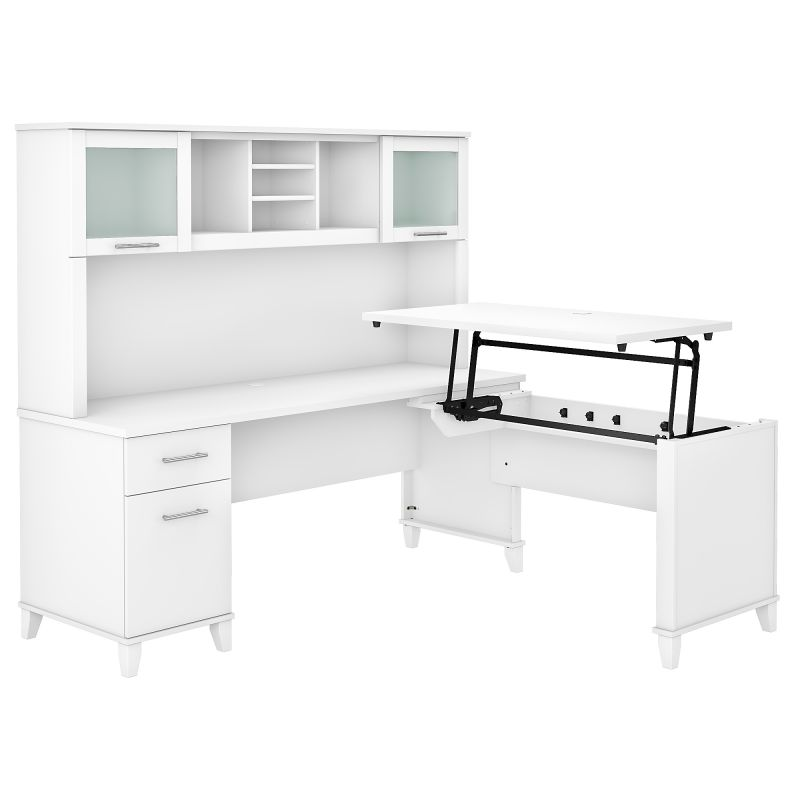 SET015WH 72W 3 Position Sit to Stand L Shaped Desk with Hutch in White