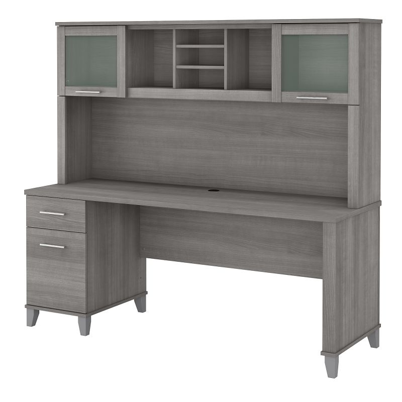 SET018PG 72W Office Desk with Drawers and Hutch in Platinum Gray