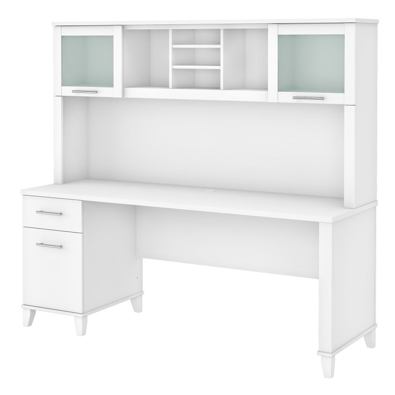 72W Office Desk with Drawers and Hutch in White