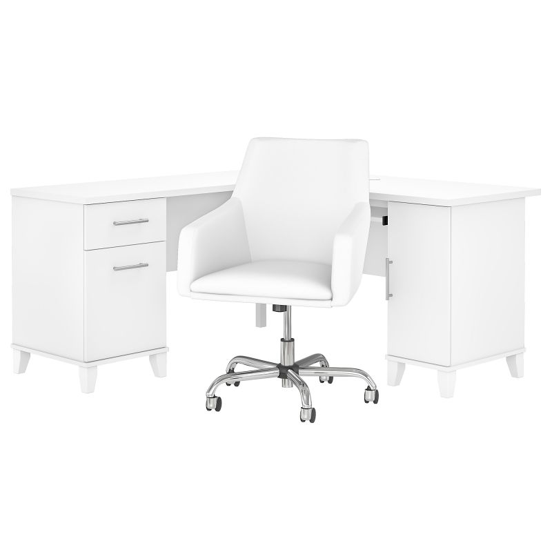 SET022WH 60W L Shaped Desk with Mid Back Leather Box Chair in White