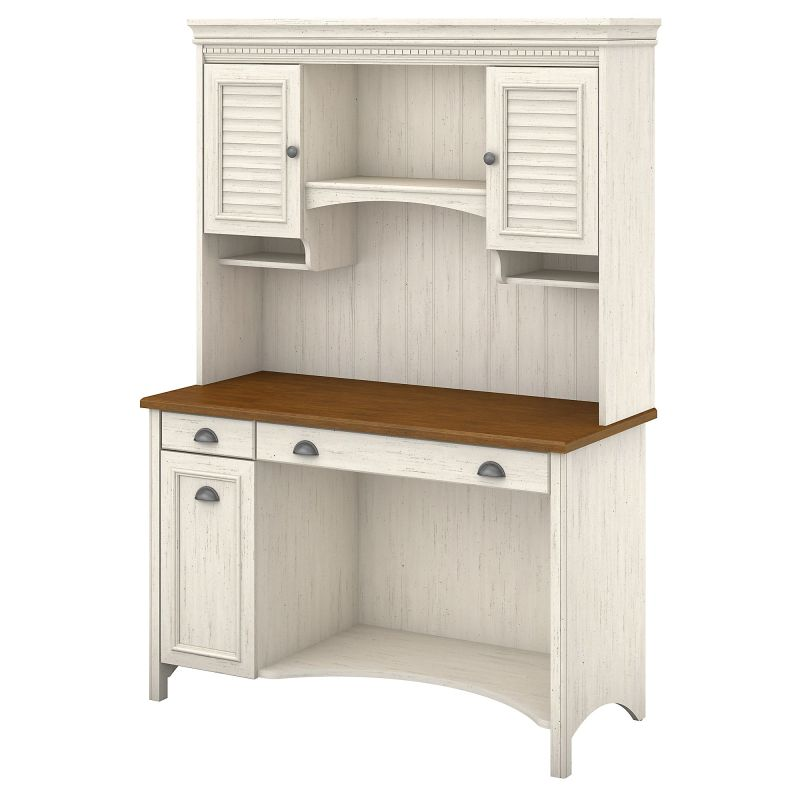 STF002AW Desk with Hutch and Drawers in Antique White